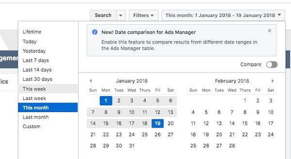 Facebook rolled out two new reporting features in Ads Manager, Date Comparison and Creative Reporting.