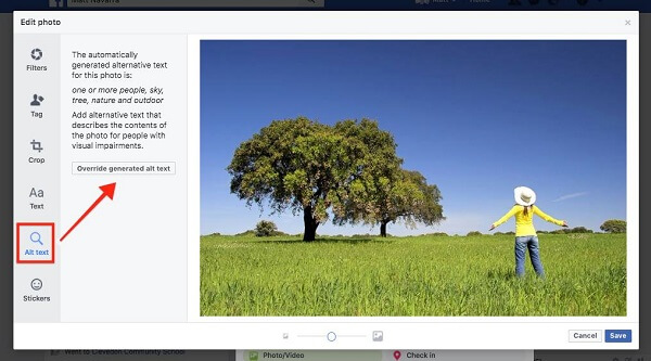 Facebook now allows users to override auto-generated alt-text for images uploaded to the site.