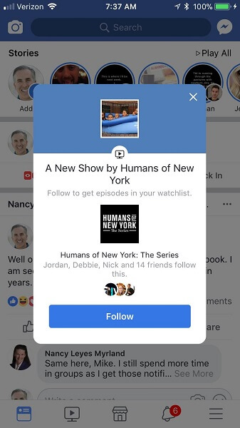 Facebook alerts mobile users when new Watch episodes are available to view.