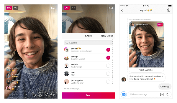 Instagram announced that users can now privately send live videos over Direct Messaging