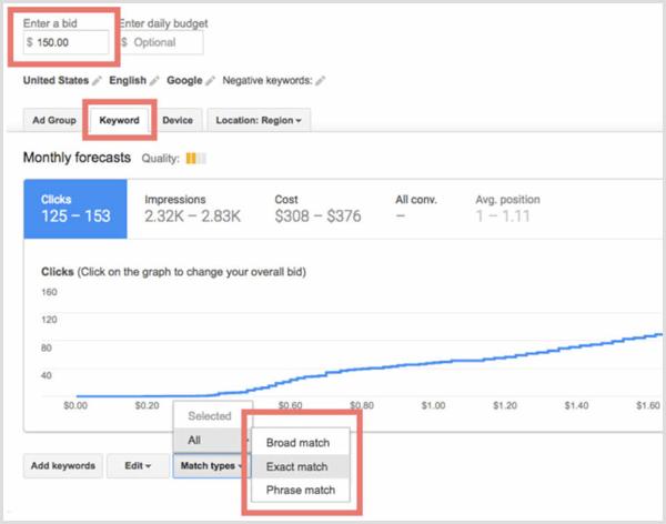 Google Keyword Planner review plan