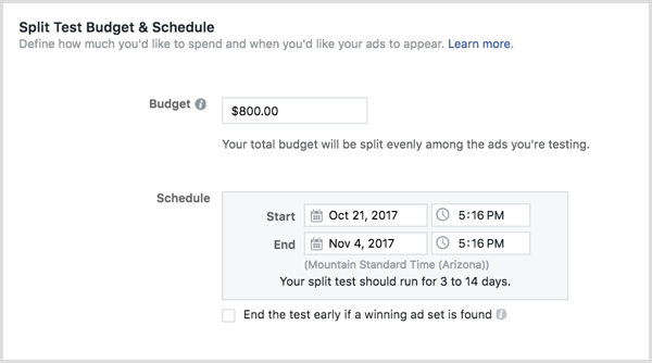Instagram ads budget schedule