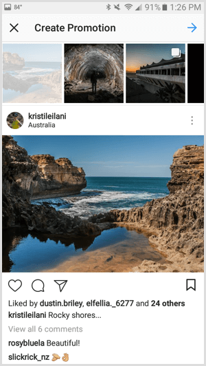 Instagram ads create promotion with app