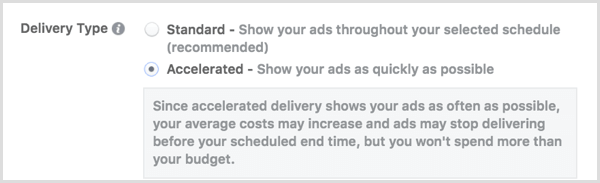 Instagram ads delivery type