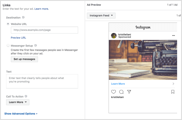 Instagram ads destination cta text