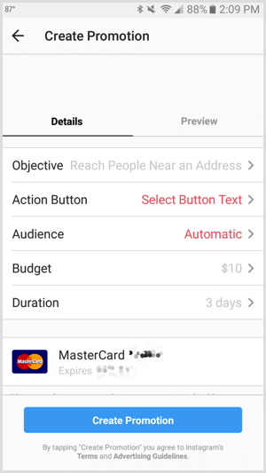 Instagram ads promotion action button