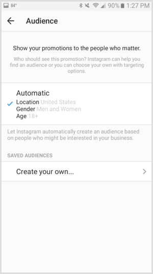 Instagram ads promotion define audience
