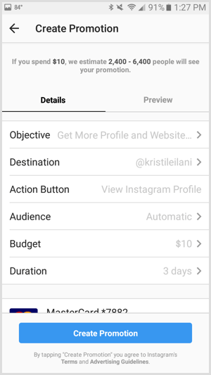 Instagram ads promotion set budget