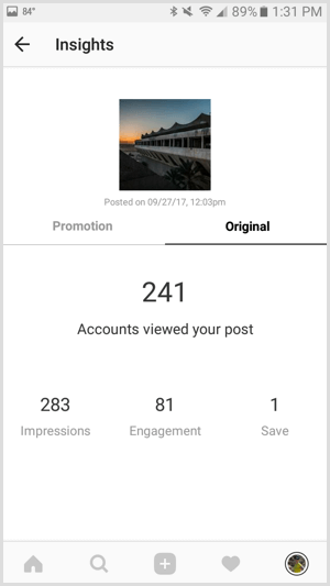 Instagram post insights