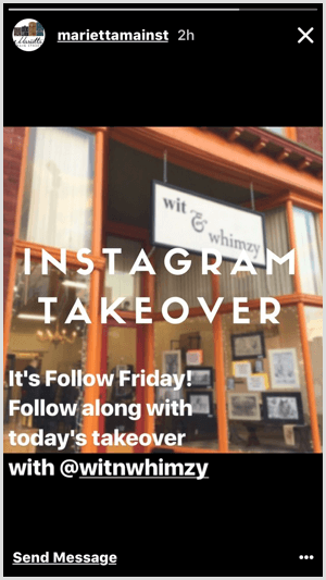 Instagram Stories takeover example