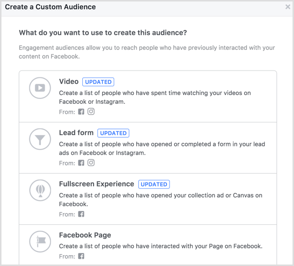 facebook create page engagement custom audience