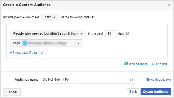 facebook create custom audience people who did not submit lead form