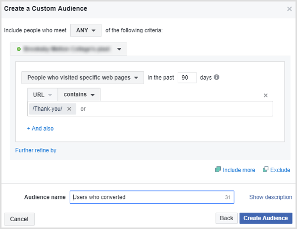 facebook create custom audience people who submitted form