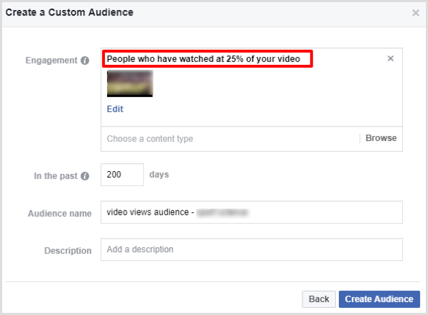 facebook create video engagement custom audience