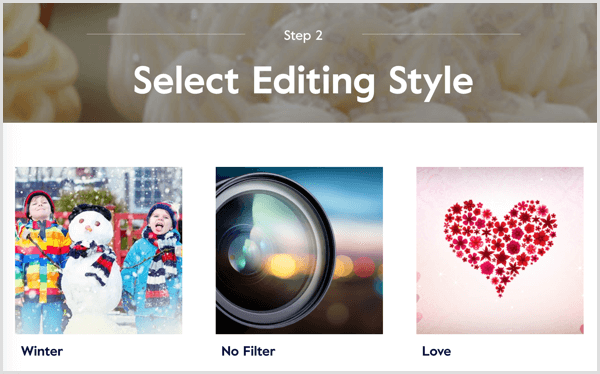 Magisto video select editing style