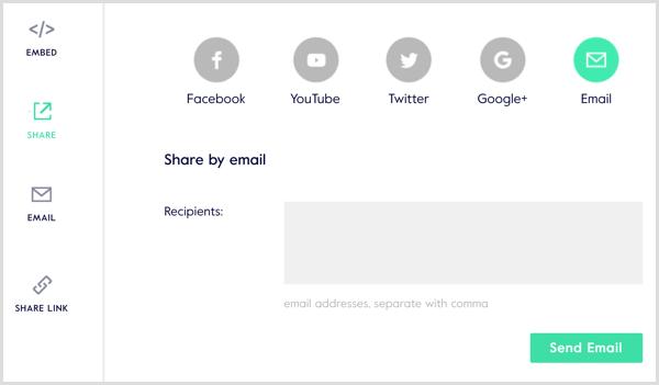 Magisto video share options