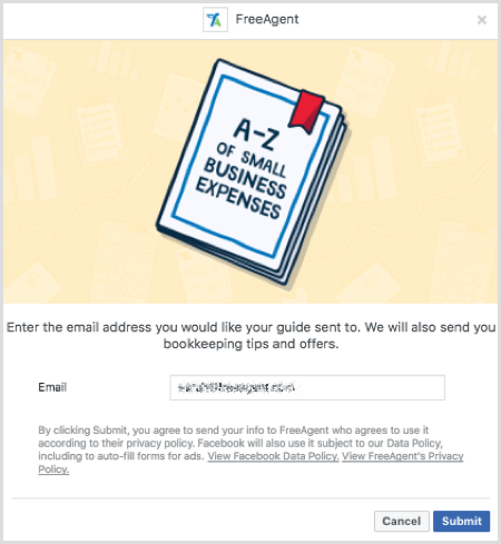 Facebook lead ad form example