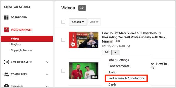 YouTube add end screen