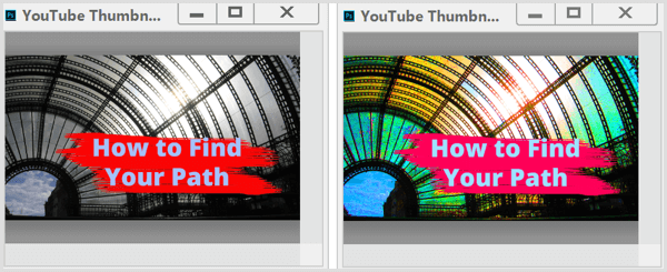 YouTube thumbnail saturation adjustment