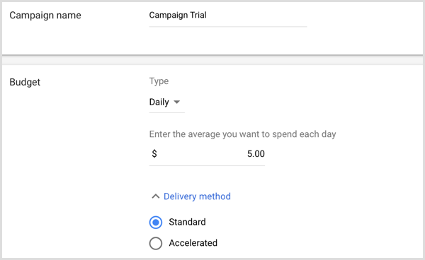 Add campaign name and budget in Google AdWords.