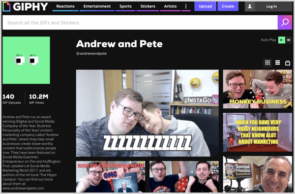 Andrew and Pete have a collection of GIFs on Giphy.