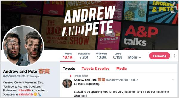 Twitter profile for @andrewandpete.