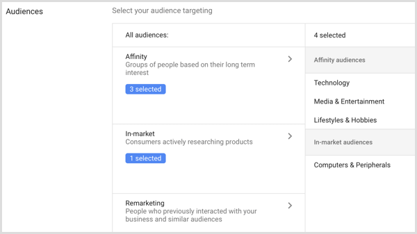 Audiences settings for Google AdWords campaign.