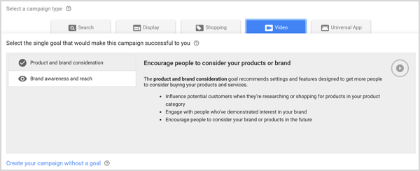 Brand Awareness and Reach campaign type in Google AdWords.