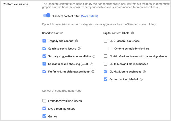 Content exclusions settings for Google AdWords campaign.