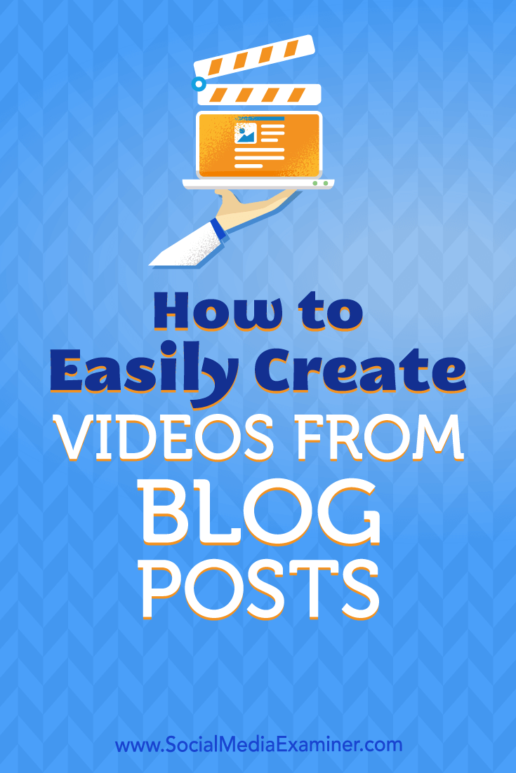 Learn how to use free tools to repurpose blog posts into videos you can share on social media.