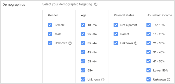 Demographics settings for Google AdWords campaign.