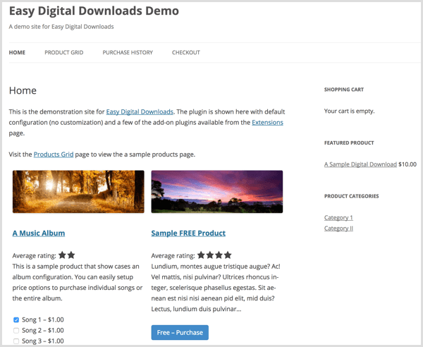 Easy Digital Downloads demo