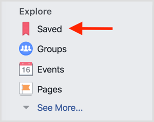 Facebook access saved posts