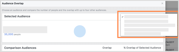 Facebook Audience Overlap selected audience