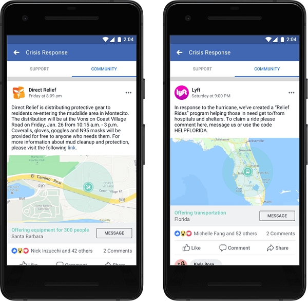 Facebook announced that organizations and businesses can now post in Community Help and provide critical information and services for people to get the help they need in a crisis.