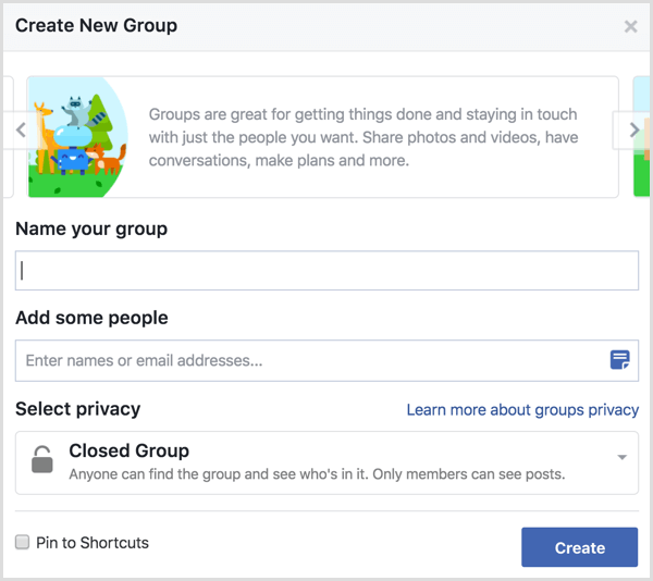 Facebook create new group