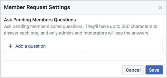 Facebook group ask pending members questions