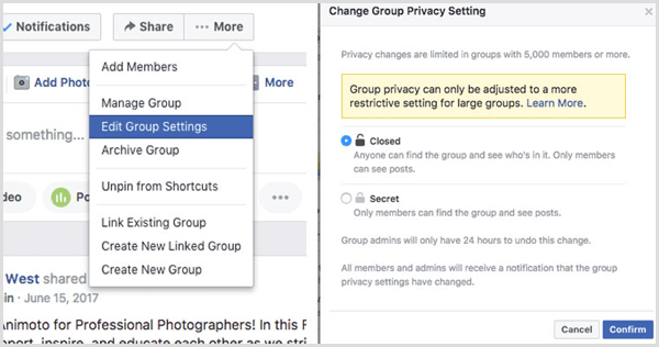 Facebook group change privacy setting