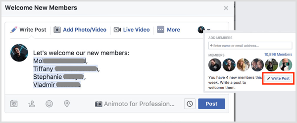 Facebook group welcome new members