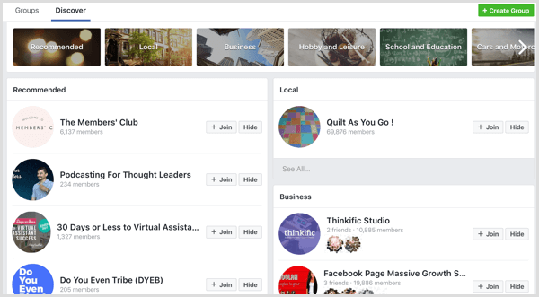 Facebook groups categories and suggestions