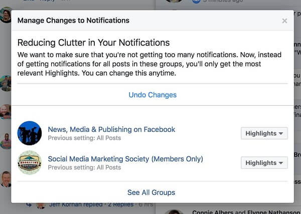 Facebook is actively reducing clutter by showing users fewer notifications from certain groups.