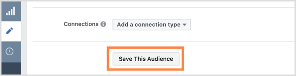 Facebook Save This Audience button