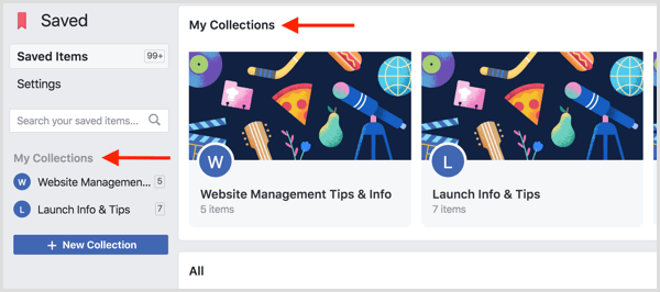 Facebook saved collections