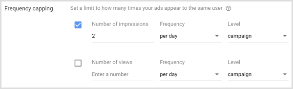 Frequency capping settings for for Google AdWords campaign.