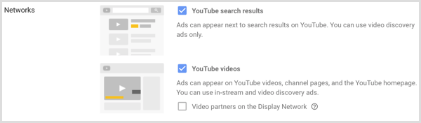 Networks settings for Google AdWords campaign.