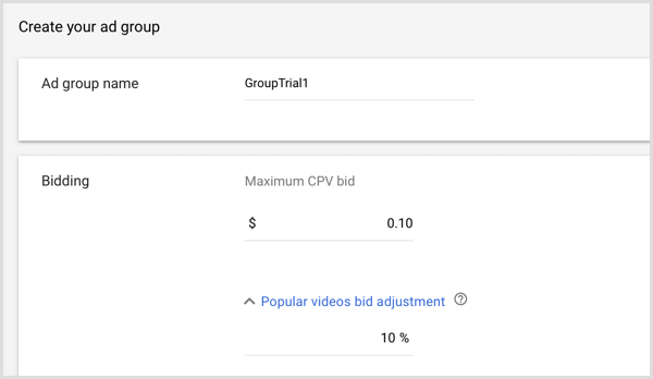 Create your ad group for Google AdWords campaign.