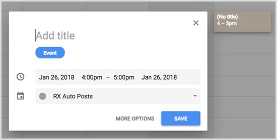 Google Calendar add event