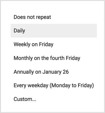 Google Calendar frequency