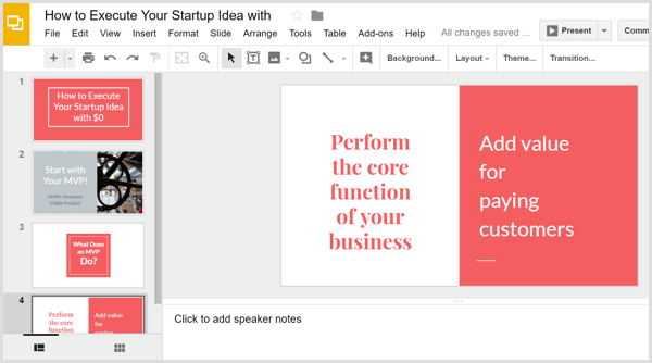 Google Slides build presentation