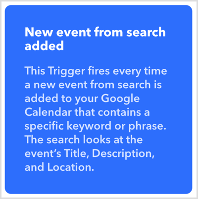 IFTTT New Event From Search Added